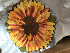 Box of sunflower dishes, large bowl and 3 PC decanter set