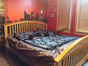 King size bed including mattress and box and a night table Cambridge Kitchener Area image 1