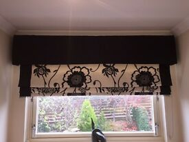 Beautiful Roman blind in black & white floral detail with trim. Pelmet not included.