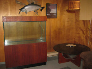 "Vintage Custom made16''x24'x46"" Fish tank with Teak base/canopy"