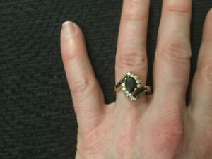 Lady's Sapphire ring - 14KT yellow and white gold
