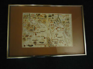 Framed Print - Ancient Pictorial Map of Indian Ocean Countries West Island Greater Montréal image 1