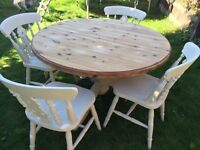 Up Cycled Solid Pine Table and Chairs (Can Deliver)