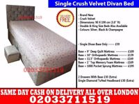 Brand New Single Crush Velvet Divan Bed Available With Mattress Order Now Inman