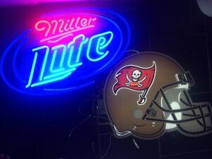 Miller Lite Neon Sign With Helmet