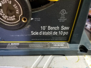 New Mastercraft 10inch Bench Saw with accessories and manual