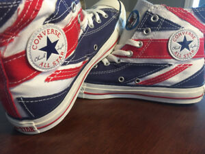 VINTAGE 2008 BRANDNEW THE WHO BRITISH FLAG CONVERSE MENS 8.5/9