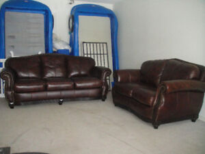 Almost New Classic Top Quality All Leather Sofa Set, Can Deliver