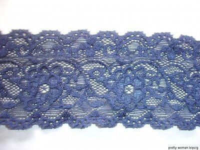 3m elastische Spitze 0,90€/m dunkelblau 6,2cm breit AO66