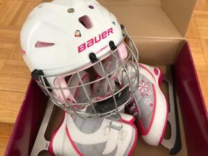 Girls figure skates/ Bauer helmet
