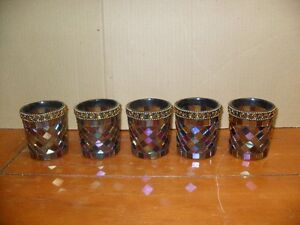 5 Stained Glass Medievel style PartyLite Candle Holders