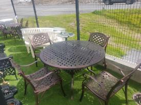 Bronze Cast aluminium round table & 4 armchairs garden furniture