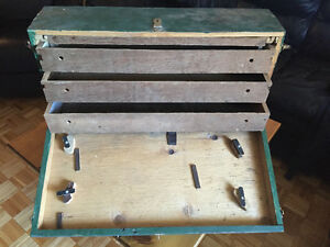 Large Vintage Wooden Carpenters Tool Box