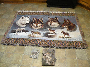 Wolf collection: wall hanging (throw, afghan) and two sculptures