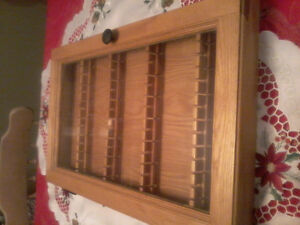 "16 "" x 24"" Oak Curio for Collector Spoons or Small Collectibles"