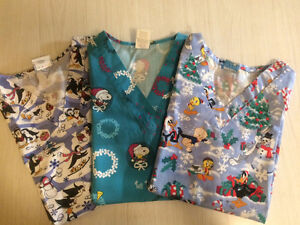 Christmas Scrub Tops Size S (Lot of 3) - $15obo