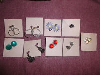 9 pairs of twist-on / twist-back earrings!