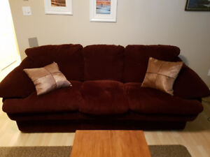 burgundy sofa and chair for sale