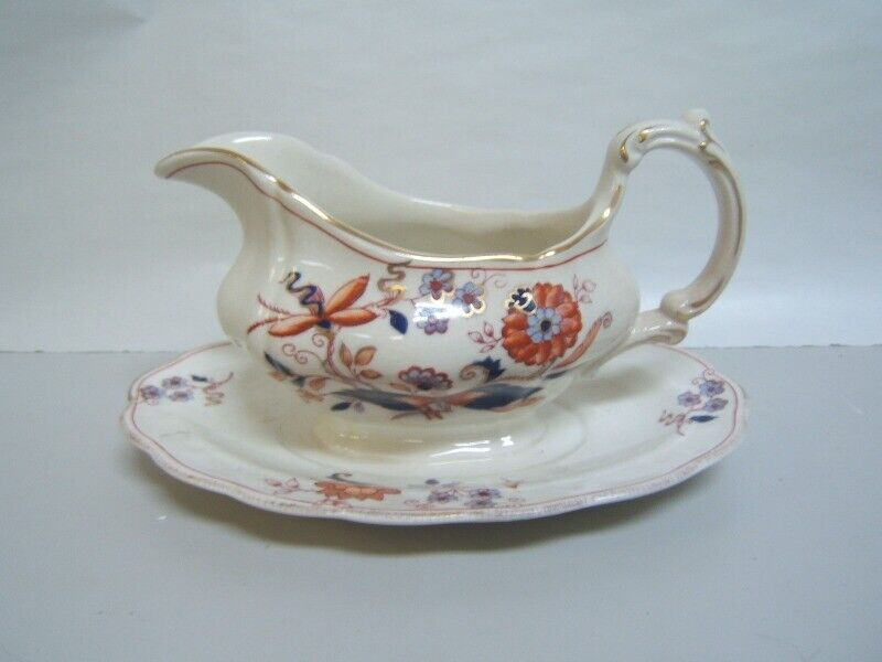 """Booths """"Fresian"""" Gravy Boat w/ Attached Underplate Very Good Condition Rare"""