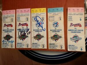 1992 Blue Jays Baseball 1992 WS +ALCS Ticket signed + Bobblehead
