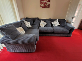 Large Harvey's chenille grey corner sofa bed suite