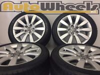 """4 used 16"""" Genuine audi A1 alloy wheels & tyres 5/100 bora mk4 golf polo delivery available"""