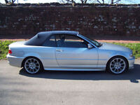 2005 55 Plate BMW 318i Convertible , Silver with blue hood , Full Grey leather