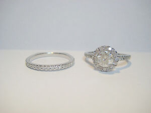 New 1.60 TCW Solitaire Halo Diamond Ring W/Wedding Band