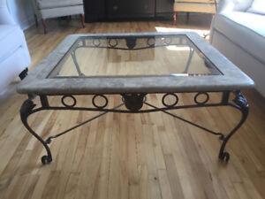 Baisse de prix! Table basse en marbre, verre et fer forgé