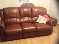 3 Seat Reclining Sofa /Settee , Brown leather