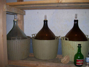 3- 15 gallon demijohns for wine making used