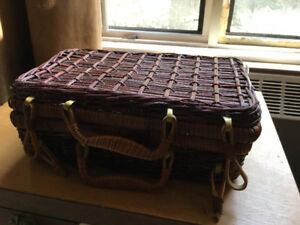 Wicker Storage Box w attached Cover Decorative - 3 available