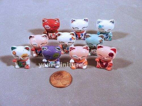Lucky Cats French Feves Porcelain 10 Figurines Epiphany Cake