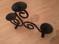 Solid Black Metal Candle Stand