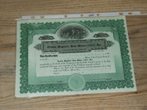 1941 stock certificate for Croton Magnetic Iron Mines Inc.