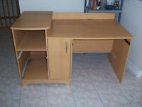 Wooden desk with drawers/ keyboard tray