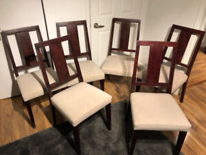 Set of 6 solid wood, fabric soft seat, modern dining chairs