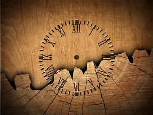 Holz Designer Funk Wanduhr Funk Uhrwerk DCF,40x30 cm Alu Verbund