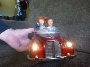 Vintage Battery operated,Tin Bentley car,many functions,unique