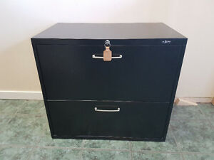 2 Drawer Black Locking Filing Cabinet