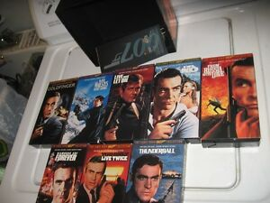 THE JAMES BOND 007 COLLECTOR'S SET 8 VHS MOVIES.