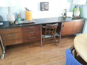 Mid-Century Chrome & Teak desk/credenza Peterborough Peterborough Area image 1