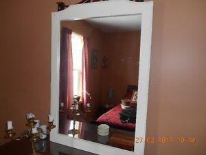28 1/2 x 40 inch White framed mirror