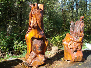 cedar sculpture with bears eagles mountain sheep 3 to choose fro