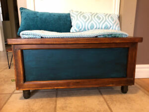 Unique Refinished Wood Chest with Glass Insulator Legs