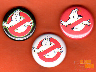 "Set of three 1"" Ghostbusters logo pins buttons"