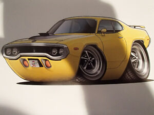 """1971 / 72 PLYMOUTH ROAD RUNNER YELLOW WALL ART PICTURE 11"""" X 8.5"""