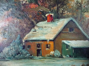 "Antique Early French Artist Paul Welsch ""Paysage d'Hiver"" 1927 Stratford Kitchener Area image 4"