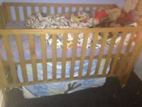 Baby cot. Solid oak pine cot bed