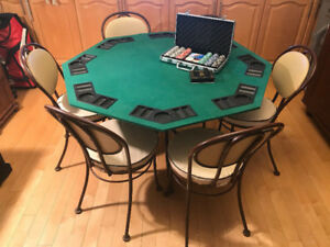 HAUSER Lucky Poker Table with 6 Chairs - Dinning table